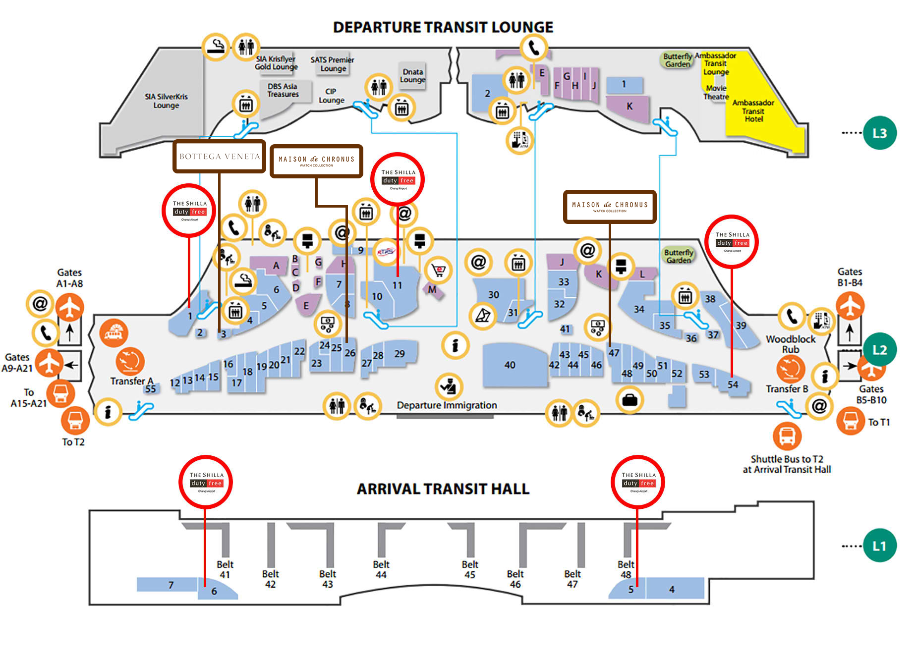 Changi Airport Arrival Hall Map The Shilla Duty Free Store Listings | The Shilla Duty Free